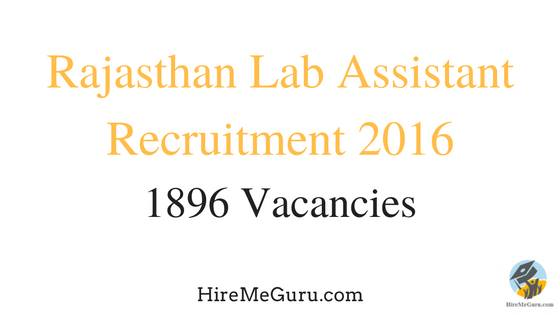 Rajasthan Lab Assistant Recruitment Apply Online at rsmssb.rajasthan.gov.in